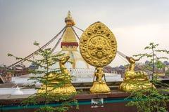 Sacred Buddhist symbol in Nepal. Sacred Buddhist symbol on the background Of bodnath stupa in Kathmandu, Nepal royalty free stock photography