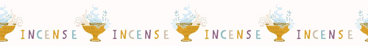 Sacred Burning Incense Cauldron Seamless Vector Border. Dried Herb Bunches stock illustration