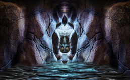 Sacred cave. Abstract flooded sacred rocky cave Royalty Free Stock Photography