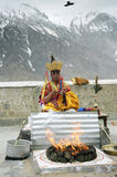 Sacred ceremony, India. Head lama doing puja in Ki monastery Royalty Free Stock Image