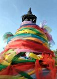 Sacred Colourful soft fabric on pagoda Royalty Free Stock Image