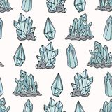 Sacred Esoteric Quartz Crystal Magic Hand Drawn Seamless Vector Pattern stock illustration