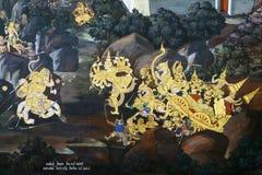 Sacred fresco of a battle in Bangkok Stock Photos