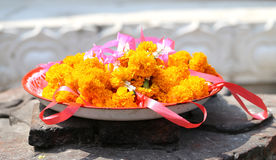 Sacred garlands of flowers Stock Images
