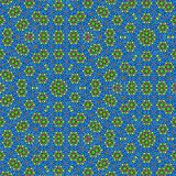 Sacred geometric pattern in yellow flowers on blue background vector illustration