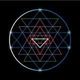 Sacred geometry and alchemy symbol Sri Yantra stock illustration