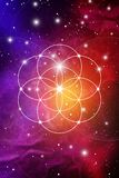 Sacred geometry art with golden ratio numbers, interlocking circles, triangles and squares, flows of energy and. Particles in front of outer space background vector illustration