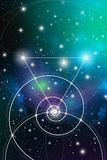 Sacred geometry art with golden ratio numbers, interlocking circles, triangles and squares, flows of energy and. Particles in front of outer space background stock illustration