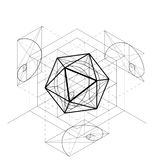 Sacred Geometry construction of the icosahedron. Geometric abstract vector background. Golden Section Royalty Free Stock Image