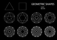 Sacred Geometry. Drawing. Types of crossings. Geometry. Cryptogram. Trendy hipster icons and logotypes. lines crossing the polygon inscribed in a circle Royalty Free Illustration