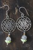 Sacred geometry earrings. With natural stones royalty free stock photo