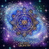 Sacred Geometry Emblem with Eye on Shining Galaxy Stock Photography
