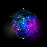 Sacred geometry. Flower of life pattern symbol. Sacred geometry abstract  illustration. Flower of life symbol. Metatrons Cube. Neon space glowing background Royalty Free Stock Image