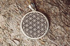 Sacred geometry flower of life silver pendant. On wooden background stock image