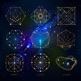 Sacred geometry forms on space background. Shapes of lines, logo, sign, symbol. Geometric patterns. Geometry symbolic. Vector isolate geometry shapes Royalty Free Stock Photography