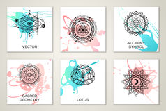 Sacred Geometry Forms on Watercolor royalty free illustration