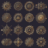 Sacred Geometry Forms With Eye, Moon And Sun Royalty Free Stock Images
