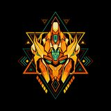Sacred Geometry King Golden Robot royalty free illustration