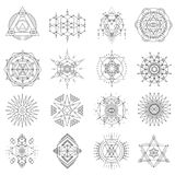 Sacred geometry line art set. Symbolic proportions, esoteric perfection of eye, snow flakes, pine cones, flower petals, diamond crystals. Vector flat style Stock Photography