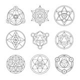 Sacred geometry linear contour elements. Alchemy, religion, philosophy, spirituality, hipster symbols and elements. Vector illustration. Geometric Shapes Royalty Free Stock Images