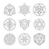 Sacred geometry linear contour elements vector illustration