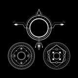 Sacred geometry magic circle rune stock images