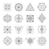 Sacred Geometry Set. Sacred geometry abstract symbols monochrome set isolated on white background flat vector illustration vector illustration