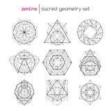 Sacred geometry set. Abstract vector sacred geometrical figures, spiritual geometry symbols Stock Images