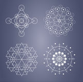 Sacred geometry set of complicated symbols in vector. stock illustration
