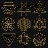 Sacred Geometry. Set of nine figures. Vector illustration. Royalty Free Stock Images
