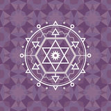 Sacred geometry sign on geometric abstract background. Abstract vector pattern. Mystic badge. Design element Royalty Free Stock Photos