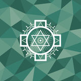 Sacred geometry sign on polygonal abstract background.  Royalty Free Stock Photography