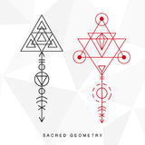 Sacred geometry signs set. Alchemy linear modern art. Philosophy, religion, astrology tribal aztec emblem. Esoteric, science, hipster symbol. Vector logo, tee Royalty Free Stock Image