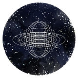 Sacred Geometry on starry sky Royalty Free Stock Photo
