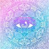Sacred geometry symbol with all seeing eye in acid colors. Mysti. C, alchemy, occult concept. Design for indie music cover, t-shirt print, psychedelic poster Royalty Free Stock Images