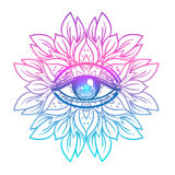Sacred geometry symbol with all seeing eye in acid colors. Mysti. C, alchemy, occult concept. Design for indie music cover, t-shirt print, psychedelic poster Stock Images