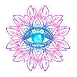 Sacred geometry symbol with all seeing eye in acid colors. Mysti. C, alchemy, occult concept. Design for indie music cover, t-shirt print, psychedelic poster Royalty Free Stock Photos