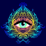 Sacred geometry symbol with all seeing eye in acid colors. Mysti. C, alchemy, occult concept. Design for indie music cover, t-shirt print, psychedelic poster Royalty Free Stock Image