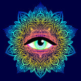 Sacred geometry symbol with all seeing eye in acid colors. Mysti. C, alchemy, occult concept. Design for indie music cover, t-shirt print, psychedelic poster Royalty Free Stock Photo