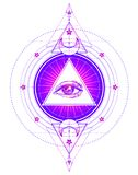 Sacred geometry symbol with all seeing eye isolated on white. My stock illustration