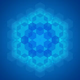 Sacred geometry symbol blue background. Sacred geometry abstract symbol blue background, designer template Stock Photos