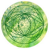 Sacred geometry symbol on colorful watercolor circular backgroun Stock Photos