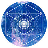 Sacred geometry symbol on colorful watercolor circular background. vector illustration