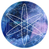 Sacred geometry symbol on colorful watercolor circular backgroun Stock Images