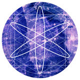 Sacred geometry symbol on colorful watercolor round background. Royalty Free Stock Image