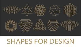 Sacred geometry symbols collection. hipster, abstract, alchemy, spiritual, mystic elements set. Sacred geometry symbols collection vector illustration