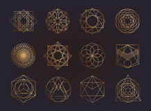 Sacred geometry symbols collection. hipster, abstract, alchemy, spiritual, mystic elements set. Stock Photo