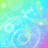 Sacred geometry symbols and elements background. The science and mathematics abstract background with circles, cube, triangles and a lot of lines. Sacred Royalty Free Stock Photos