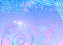 Sacred geometry symbols and elements background. The science and mathematics abstract background with circles, cube, triangles and a lot of lines. Sacred Stock Illustration