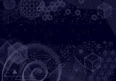 Sacred geometry symbols and elements background. The science and mathematics abstract background with circles, cube, triangles and a lot of lines. Sacred Vector Illustration